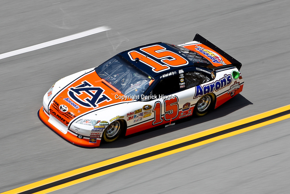 April 16, 2011; Talladega, AL, USA; NASCAR Sprint Cup Series driver Michael Waltrip (15) during qualifying for the Aarons 499 at Talladega Superspeedway.   Mandatory Credit: Derick E. Hingle