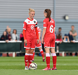 Bristol Academy's Sophie Ingle wearing the captain's armband prepares to kick-off against Manchester City Women - Photo mandatory by-line: Paul Knight/JMP - Mobile: 07966 386802 - 18/07/2015 - SPORT - Football - Bristol - Stoke Gifford Stadium - Bristol Academy Women v Manchester City Women - FA Women's Super League