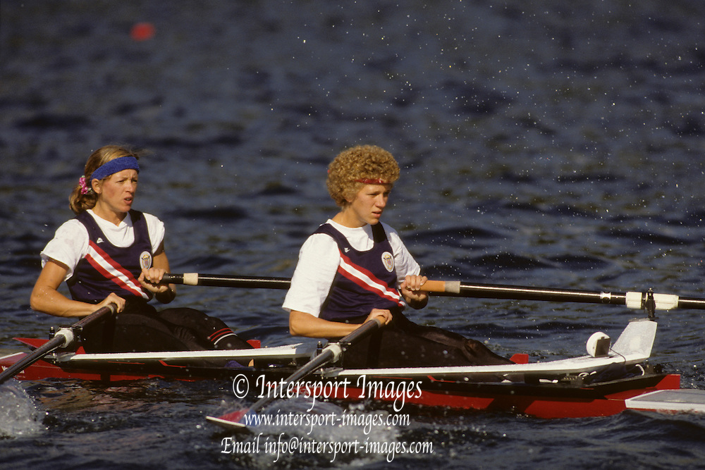 Bled, Slovenia, YUGOSLAVIA.  Gold Medalist, USA LW2X. Bow. Carey SANDS - MARDEN and Kristine KARLSON. 1989 World Rowing Championships, Lake Bled. [Mandatory Credit. Peter Spurrier/Intersport Images]