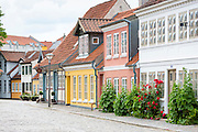 Painted houses in Ramsherred in the old town in Odense on Funen Island, Denmark