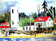 Browns Point Lighthouse, Tacoma, WA. Watercolor.  ©JoAnn Hawkins.