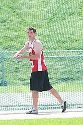 (Sherbrooke, Quebec---10 August 2008) Corey Wingate competing in the youth boys discus at the 2008 Canadian National Youth and Royal Canadian Legion Track and Field Championships in Sherbrooke, Quebec. The photograph is copyright Sean Burges/Mundo Sport Images, 2008. More information can be found at www.msievents.com.
