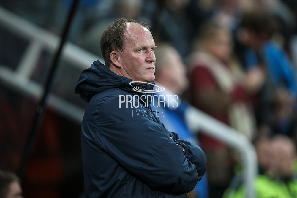 Simon Grayson (Preston North End) not happy with what he is seeing on the pitch during the EFL Cup 4th round match between Newcastle United and Preston North End at St. James's Park, Newcastle, England on 25 October 2016. Photo by Mark P Doherty.