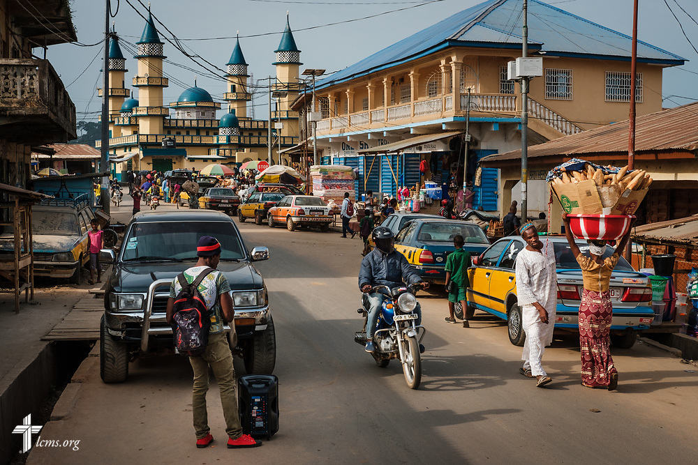 A mosque anchors the landscape in Koidu, Sierra Leone, West Africa, on Friday, May 11, 2018. LCMS Communications/Erik M. Lunsford