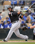 GLENDALE, ARIZONA - FEBRUARY 23:  Jose Abreu #79 of the Chicago White Sox bats against the Los Angeles Dodgers on February 23, 2018 at Camelback Ranch in Glendale Arizona.  (Photo by Ron Vesely)  Subject:   Jose Abreu