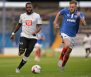 Darren Bent and Matt Clarke during the Capital One Cup match between Portsmouth and Derby County at Fratton Park, Portsmouth, England on 12 August 2015. Photo by Adam Rivers.