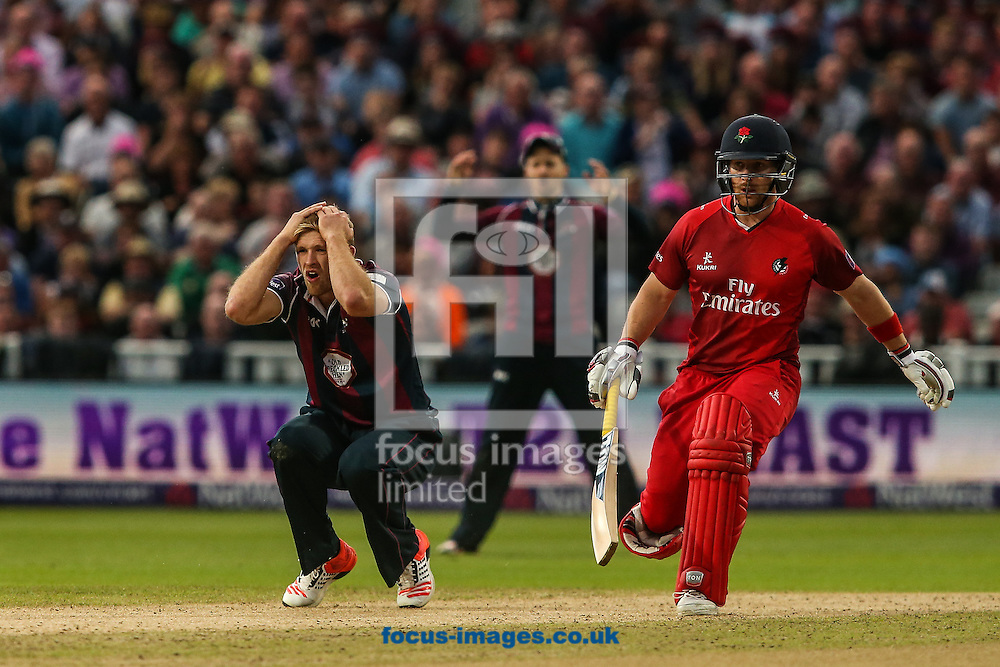David Willey of Northants Steelbacks (left) rues a near miss as Steven Croft of Lancashire Lightning looks on during the Natwest T20 Blast Final at Edgbaston, Birmingham<br /> Picture by Andy Kearns/Focus Images Ltd 0781 864 4264<br /> 29/08/2015