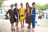 15/08/2013  Mairetheresa Ni Cheallaigh (judge) from Tg4 ,  Mary Drumm  (2nd place) Westport , Jean Osborne from Oughterard  winner , Cathy Snow Letterfrack 3rd Place and Stylist Orla Sheridan of the Best dressed at the 90th Connemara Pony show in Clifden Co. Galway. Photo:Andrew Downes