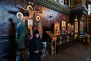 Prayers inside an orthodox church.