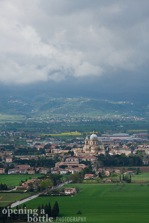 Basilica of Santa Maria degli Angeli in the valley below Assisi, Umbria, Italy. The church is a sacred site for the Franciscan Order.