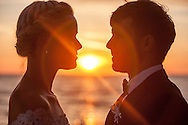 Wedding, Bride, Bridegroom, Face To Face, Love, Romance, Sunset,