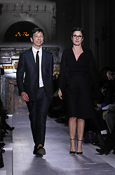 Italian designers Maria Grazia Chiuri and Pier Paolo Picciolo appear at the end of Valentino Spring/Summer 2013 Haute Couture fashion show in Paris, France, January 23, 2013. Photo by Imago / i-Images...UK ONLY