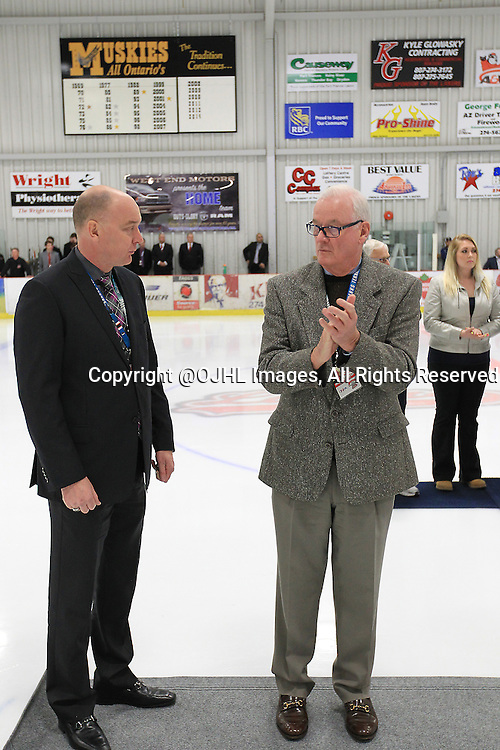 FORT FRANCES, ON - Apr 28, 2015 : Central Canadian Junior &quot;A&quot; Championship, game action between theToronto Patriots and the Fort Francis Lakers, game two of the Dudley Hewitt Cup. Dignitaries take part in the Opening Ceremonies.<br /> (Photo by Tim Bates / OJHL Images)