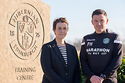 Chief Executive of Hibernian FC, Leeann Dempster with new Hibernian manager Paul Heckingbottom during the press conference for Hibernian FC at Hibernian Training Centre, Ormiston, Scotland on 15 February 2019.