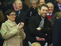 LIVERPOOL, ENGLAND - Sunday, December 13, 2009: Liverpool FC's new solicitor Natalie Wignall and husband xxxx during the Premiership match at Anfield. (Photo by: David Rawcliffe/Propaganda)