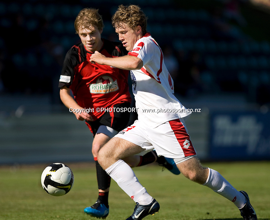 Canterbury United player Sam Miles and Andrew Foreshaw compete for the ball. Lion Foundation Youth League Final, Canterbury United v Waitakere United, English Park, Christchurch, Sunday 11 April 2010. Photo : Joseph Johnson/PHOTOSPORT