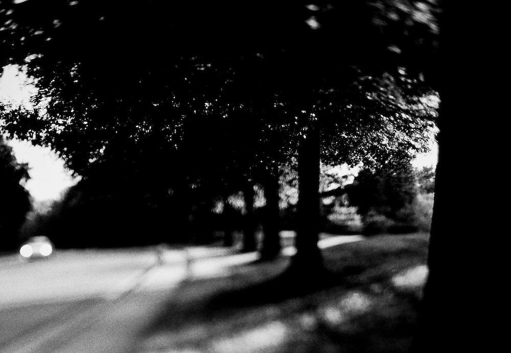 Selective focus black and white image of a lone car on a street and strong shadows from sun light coming thru trees.