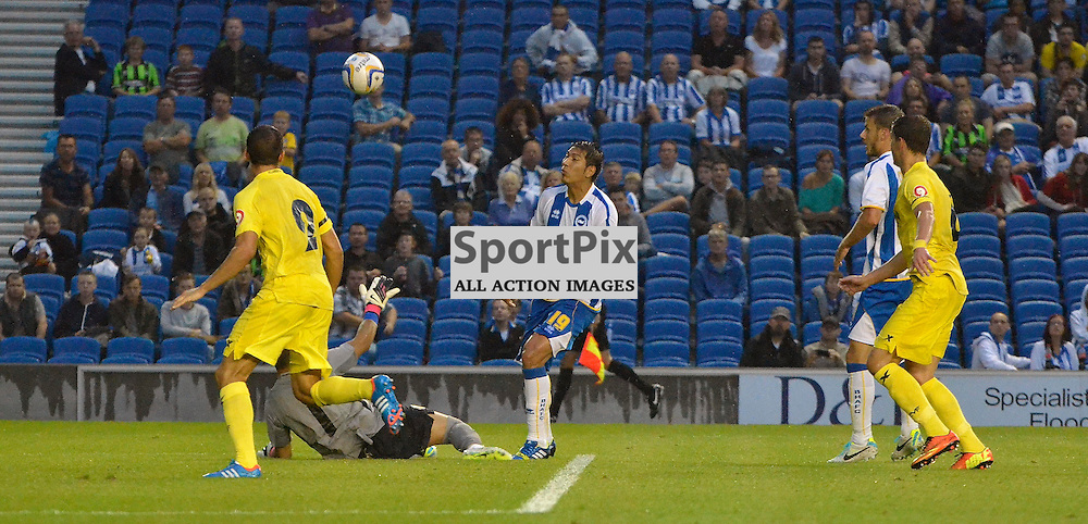 Leonardo Ulloa with a chipped shot. (c) Michael Hulf | SportPix.org.uk