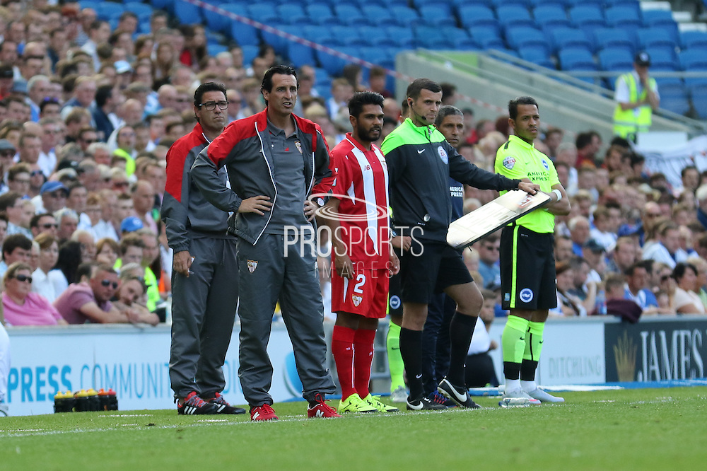 Sevilla Manager Unai Emery during the Pre-Season Friendly match between Brighton and Hove Albion and Sevilla at the American Express Community Stadium, Brighton and Hove, England on 2 August 2015. Photo by Ellie Hoad.