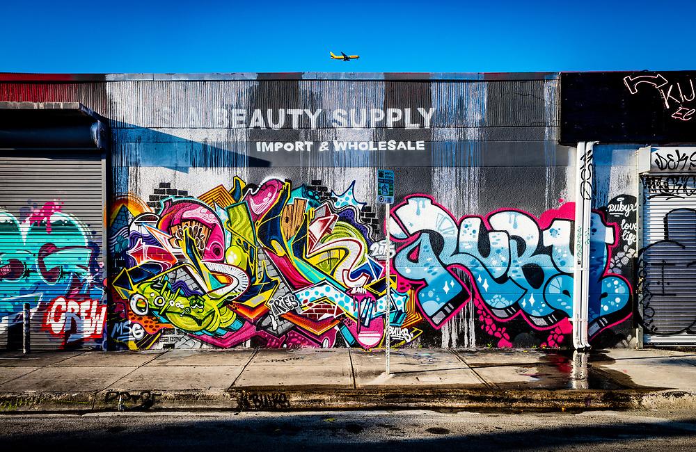 Graffiti on U.S.A. Beauty Supply warehouse in Miami's Wynwood arts district