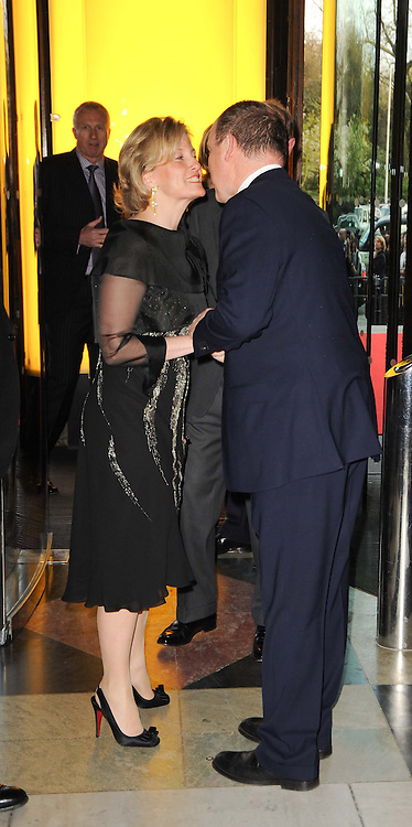 HRH the COUNTESS OF WESSEX greeted by His Serene Highness PRINCE ALBERT OF MONACO  at the opening of the Victoria & Albert Museum's latest exhibition 'Grace Kelly: Style Icon' opened by His Serene Highness Prince Albert of Monaco at the V&A on 15th April 2010.