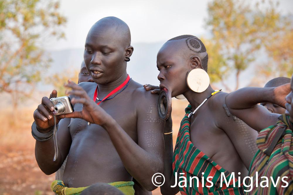 Africa, Ethiopia, Omo Valley, Mago National Park. Mursi Tribe,
