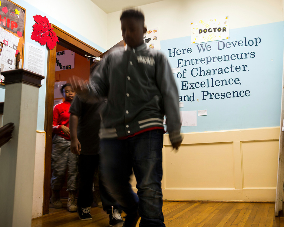 NOVEMBER, 16, 2017 - NORTH CHARLESTON, S.C.- Student at the Metanoia Youth Leadership Academy learn to develop the Metanoia Leadership Pillars in class and how to apply them outside of the school in North Charleston, South Carolina. (BNG/Stephen B. Morton)