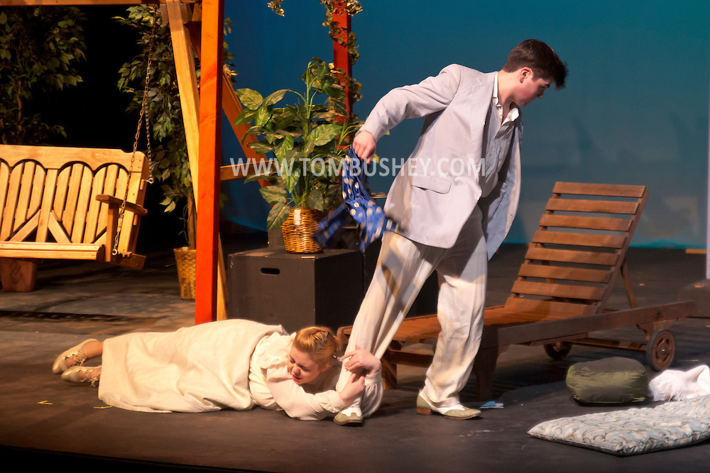 """Middletown, New York - Students from The Apprentice Players of the SUNY Orange Arts & Communications Department in a dress rehearsal of """"Playing with Fire"""" at Orange Hall Theatre on Nov. 13, 2014."""
