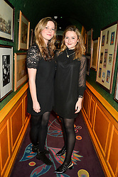 Left to right, HOLLY NICHOLSON and AMBER ATHERTON at the 2nd Bright Young Things Back In London party held at Annabel's, 44 Berkeley Square, London on 11th February 2016.