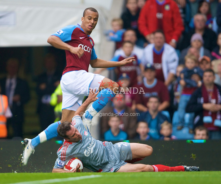 BIRMINGHAM, ENGLAND - Sunday, August 31, 2008: Liverpool's Jamie Carragher and Aston Villa's Gabriel Agbonlahor during the Premiership match at Villa Park. (Photo by David Rawcliffe/Propaganda)