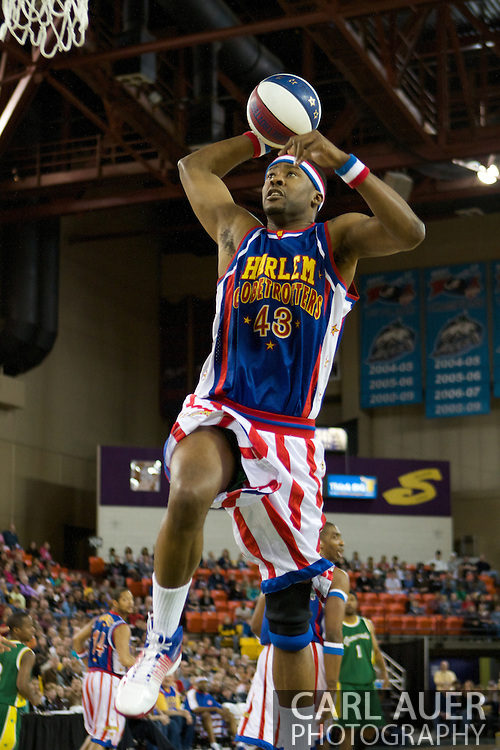 April 30th, 2010 - Anchorage, Alaska: Harlem Globetrotter Hawk (43) elevates for a thunderous dunk Friday night at the Sullivan Arena.