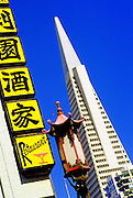 Image of the Transamerica Pyramid and Chinatown in San Francisco, California, America west coast