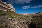 Rocky pinnacle in Puig Campana Mountain, Finestrat, Alicante province, Spain