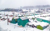 View of snowed rural town in Russia