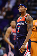 Apr 1, 2016; Phoenix, AZ, USA; Washington Wizards guard Bradley Beal (3) looks up the court in the game against the Phoenix Suns at Talking Stick Resort Arena. Mandatory Credit: Jennifer Stewart-USA TODAY Sports