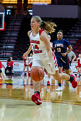 NORMAL, IL - November 30: Paige Saylor brings the ball in on a fast break during a college women's basketball game between the ISU Redbirds and the Skyhawks of UT-Martin November 30 2019 at Redbird Arena in Normal, IL. (Photo by Alan Look)