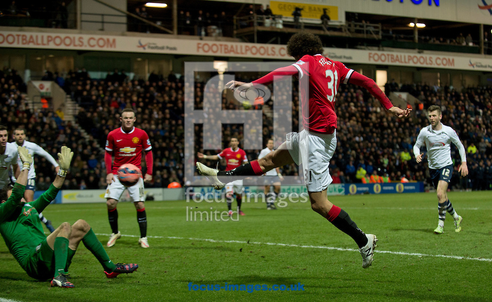 Marouane Fellaini of Manchester United scores his team's 2nd goal to make it 2-1 during the FA Cup match at Deepdale, Preston<br /> Picture by Russell Hart/Focus Images Ltd 07791 688 420<br /> 16/02/2015