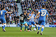 Brighton striker (on loan from Manchester United), James Wilson (21) attacking during the Sky Bet Championship play-off second leg match between Brighton and Hove Albion and Sheffield Wednesday at the American Express Community Stadium, Brighton and Hove, England on 16 May 2016. Photo by Phil Duncan.