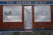A former south London pub once called The British Queen dating to the Victorian era but now closed and awaiting sale, on 4th January, London borough of Southwark, England. British pubs have been closing at a rate of 27 a week, says the Campaign for Real Ale (Camra). There were 52,750 pubs at the end of last year, down from 54,194 in December 2014.