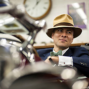 May 3, 2012 - Hibernia, NJ : Musician and composer Michael Arenella sits in the drivers seat of his 1930 Buick Roadster Model 64 at Hibernia Auto Restorations LLC., located at 52 Maple Terrace in Hibernia, NJ. CREDIT : Karsten Moran for The New York Times