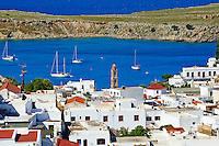 Grece, Dodecanese, Rhodes, village de Lindos // Greece, Dodecanese archipelago, Rhodes island, Lindos village