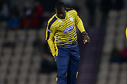 Hampshire T20 all-rounder Darren Sammy pulls up with a injury preventing him bowling the penultimate over during the NatWest T20 Blast South Group match between Hampshire County Cricket Club and Kent County Cricket Club at the Ageas Bowl, Southampton, United Kingdom on 2 June 2016. Photo by David Vokes.