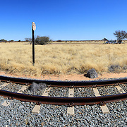 Namibian desert railway line perspective panoramic photo
