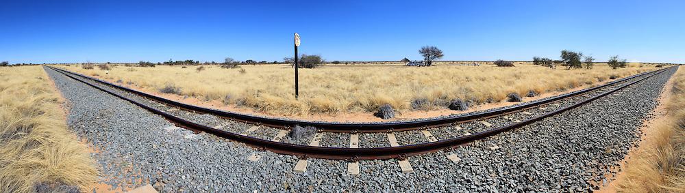 Namibian desert railway line perspective panoramic photo
