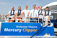 IMAGE PROVIDED FREE FOR EDITORIAL USE<br /> Sean Collins, CEO and co-founder of MBNA Thames Clippers (wearing tie) with Captain Paul Hallas, Head of Fleet Operations (centre left) and the crew pictured on board the newest addition to London&rsquo;s river bus transport network, Mercury Clipper, in East Cowes today as the vessel begins a 200 nautical mile maiden journey to the Capital from the Isle of Wight. Joining the MBNA Thames Clippers fleet, Mercury Clipper, is the first of two new boats that will enter service in London this summer. Six members of crew &ndash; with over 80 years of combined experience between them &ndash; will carry out the 12 hour journey, at an average speed of 20 knots. <br />  <br /> A &pound;6.3 million investment in London&rsquo;s port and transport infrastructure, Mercury Clipper and Jupiter Clipper have been built at the Wight Shipyard Co Ltd on the Isle of Wight. The boats took 10 months to build, creating over 75 new jobs across the Isle of Wight and London, including the hiring of two dedicated apprentices and engagement with over 100 local suppliers from across the South of England.<br />  <br /> For more information, please visit www.mbnathamesclippers.com<br /> Picture date: Wednesday June 21, 2017.<br /> Photograph by Christopher Ison &copy;<br /> 07544044177<br /> chris@christopherison.com<br /> www.christopherison.com