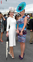 Finalisyts in the ANthony Ryan Best dressed competition were Maria O Leary from Tralee and Elaine Conneelly at Ladies day of the Galway Races in Ballybrit. Photo:Andrew Downes