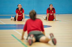 TREFOREST, WALES - Tuesday, February 14, 2011: Wales' Jordan Guard and goalkeeper Rhian Nokes during a fitness testing day at the Glamorgan Sports Park. (Pic by David Rawcliffe/Propaganda)