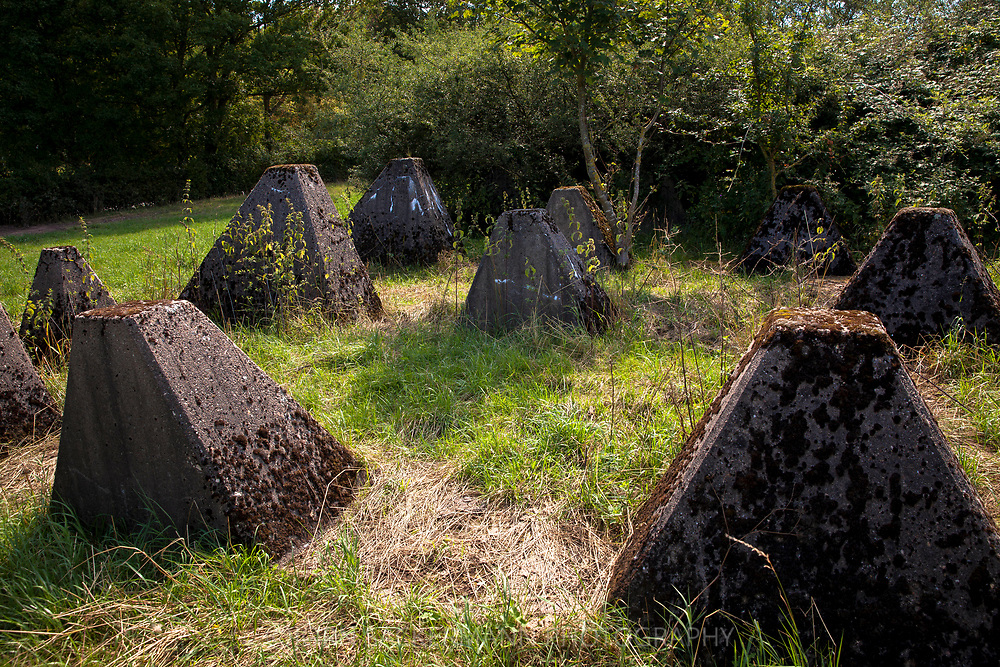 tank traps of the Siegfried line near Schmithof in the south of Aachen, North Rhine-Westphalia, Germany.<br /> <br /> Panzersperren des Westwall bei Schmithof im Sueden Aachens, Nordrhein-Westfalen, Deutschland.