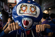 A supporter of Japanese national squad, Samurai Blue at a scramble crossing in front of Shibuya Station. Japan lost the match of the FIFA World Cup Group H  against Poland. Poland defeated japan 1-0 but Japan qualifies for the next round of the tournament, Tokyo June 29, 2018. 29/06/2018-Tokyo, JAPAN
