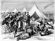 Franco-Prussian War 1870-1871: French prisonser of war camp at Wahn, near Cologne, 1870. The correspondent remarks on the improvement of conditions for prisoners since Waterloo forty years before, due partly to the Geneva Convention of 1864.  From 'The Graphic'.  (London, 22 October 1870).  Wood engraving.